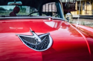 View of 1956 Buick Special Hood, with Hood Ornament Shining in the Sun