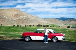 View of Tim standing with his 1956 Buick Special, Torrid Lady