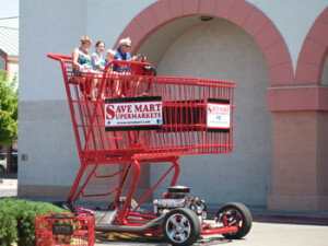Giant shopping cart dragster at Save Mart